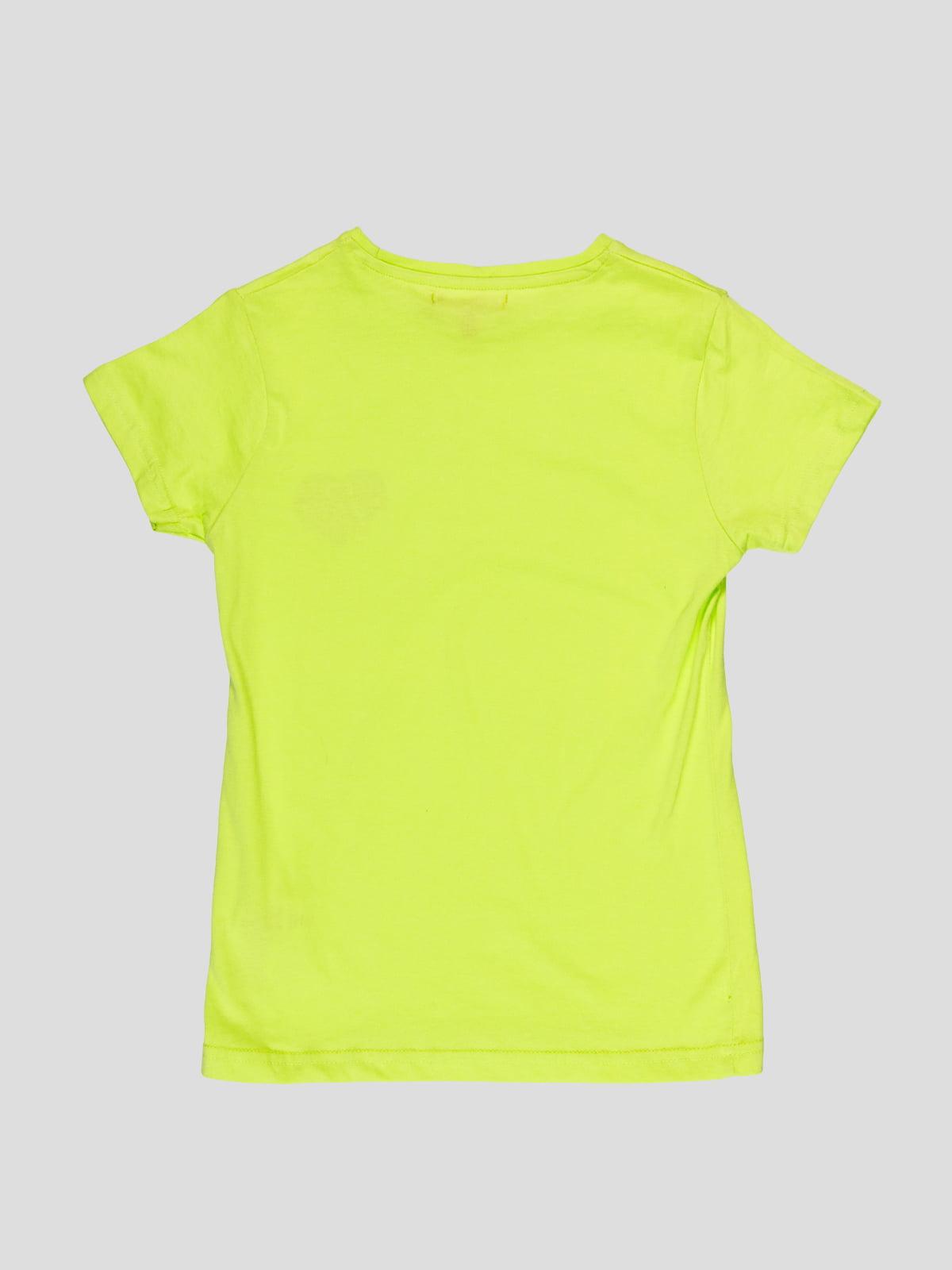 Футболка світло-зелена з принтом | 4959301 | фото 2