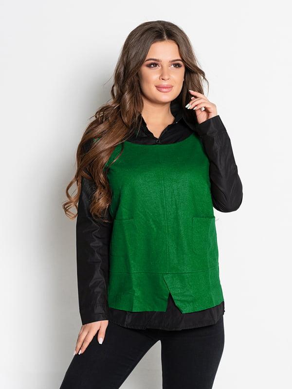 Рубашка черно-зеленая | 4903785