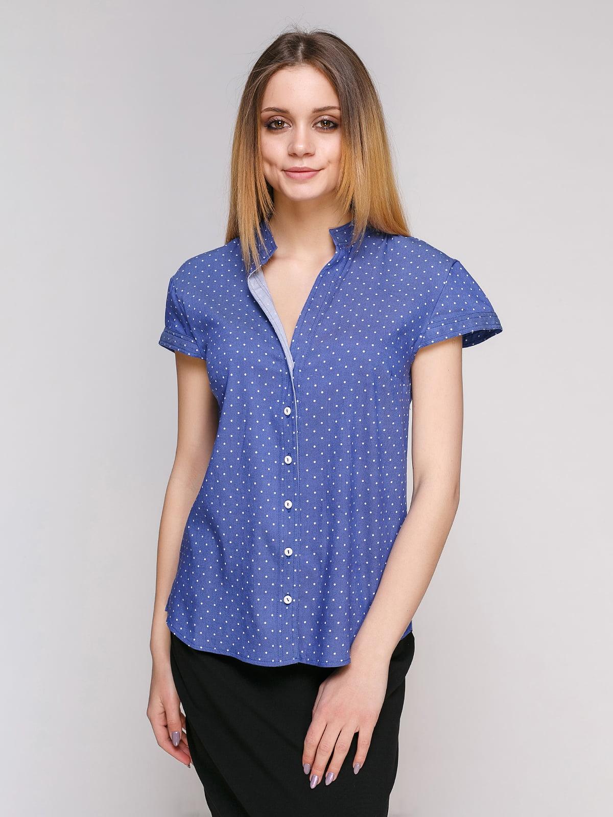 Рубашка синяя в горошек | 4959230