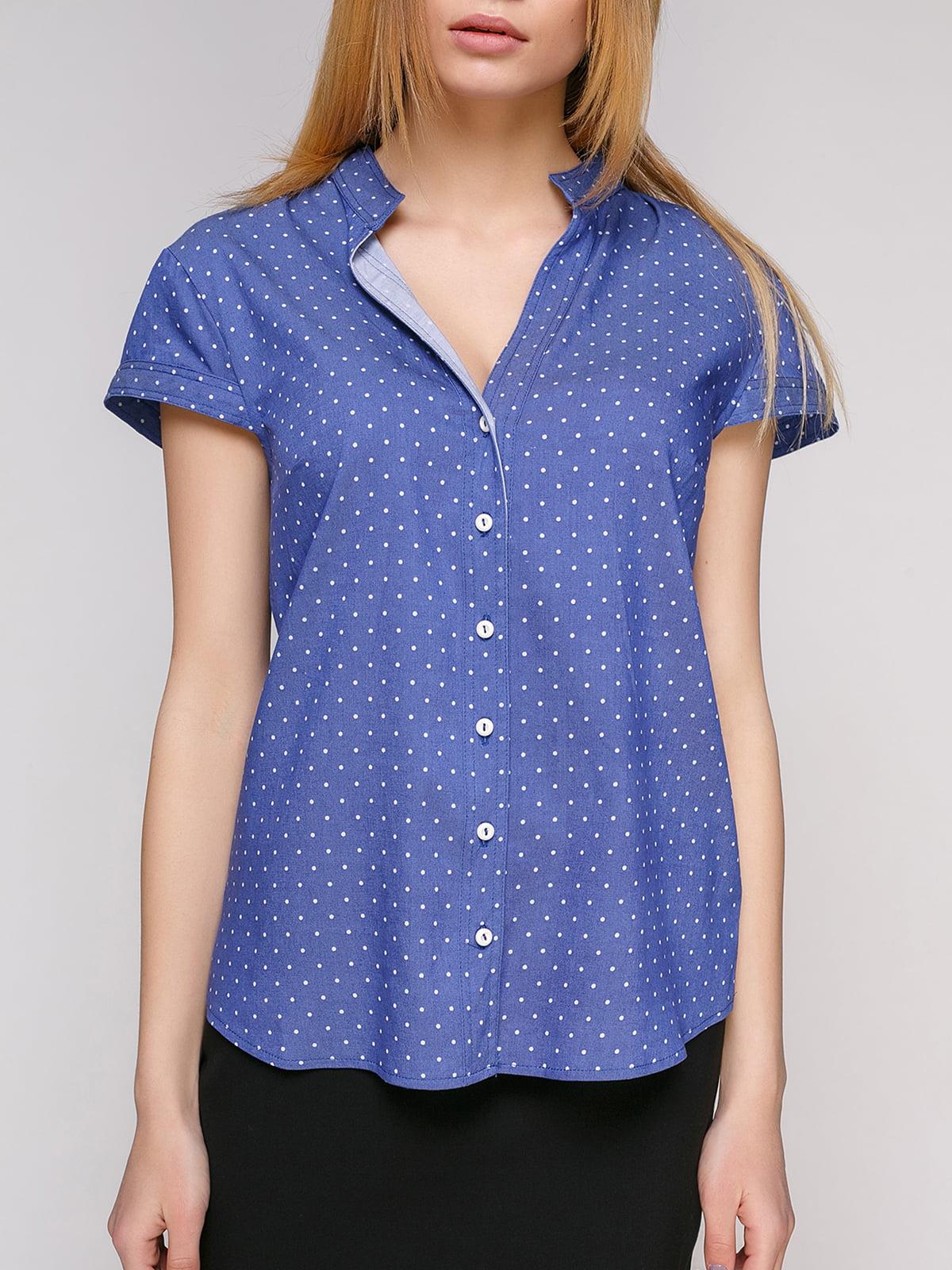 Рубашка синяя в горошек | 4959230 | фото 3
