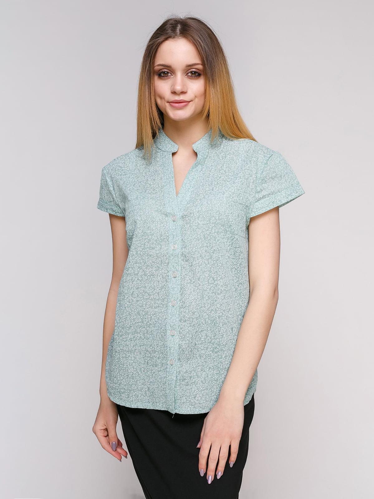 Рубашка ментолового цвета в цветочный принт   4695415