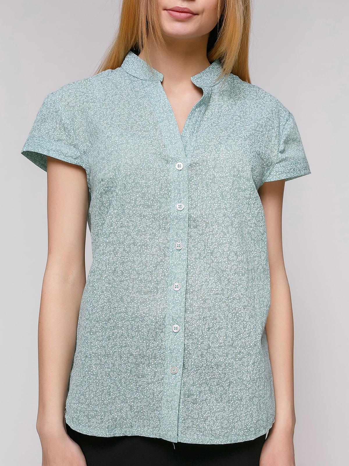 Рубашка ментолового цвета в цветочный принт   4695415   фото 3