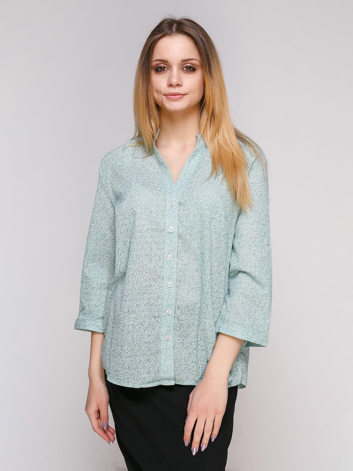 Рубашка ментолового цвета в цветочный принт | 4959246