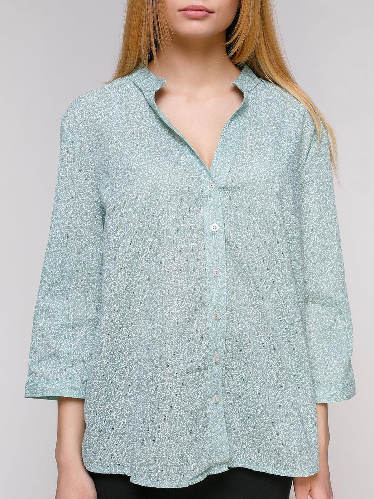 Рубашка ментолового цвета в цветочный принт | 4959246 | фото 3