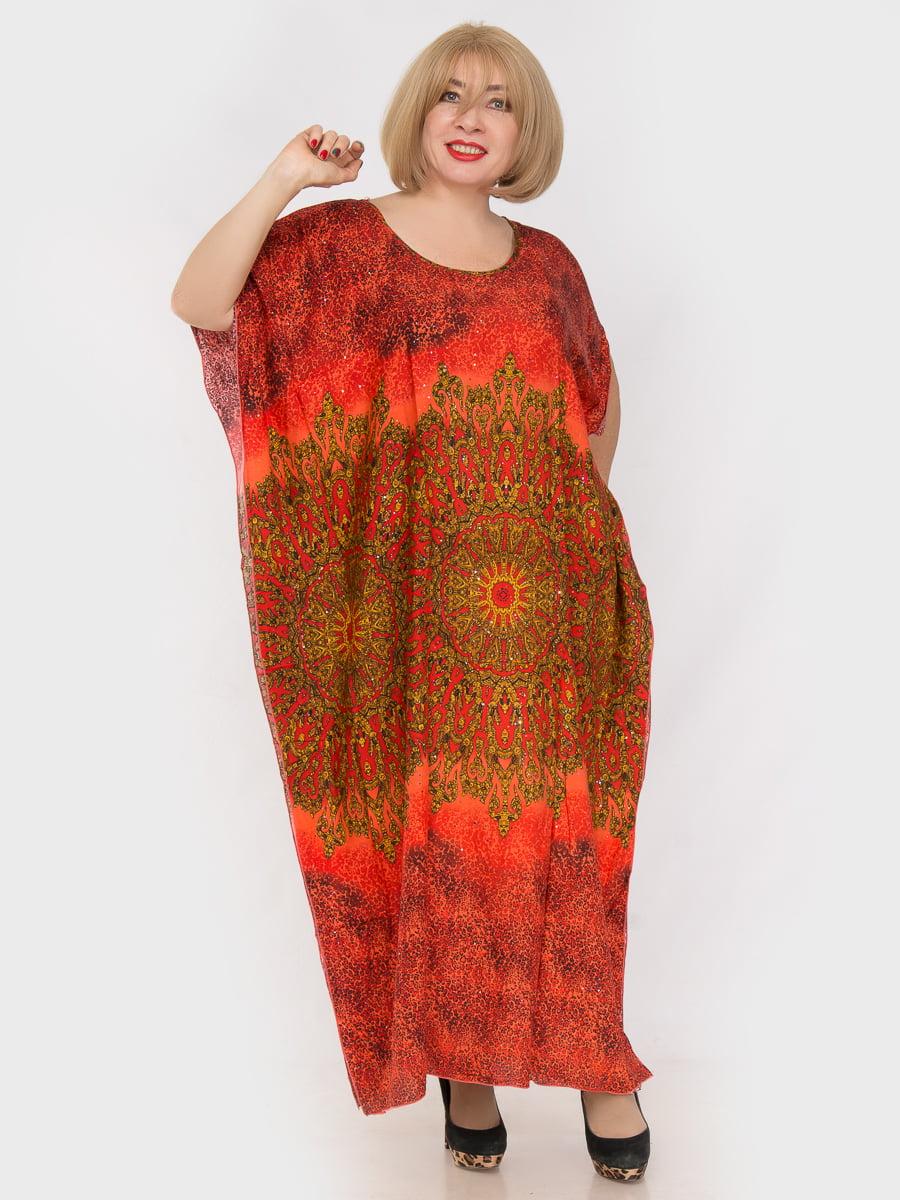 Платье оранжевое в принт | 4982873