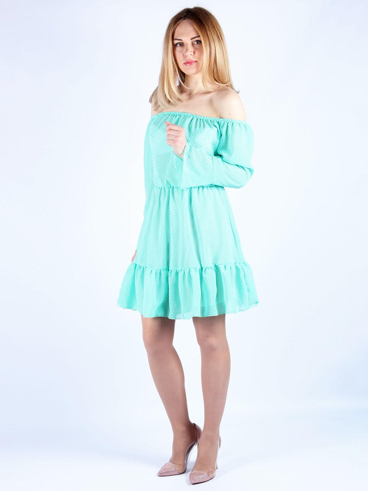Платье мятного цвета в горошек | 4984057