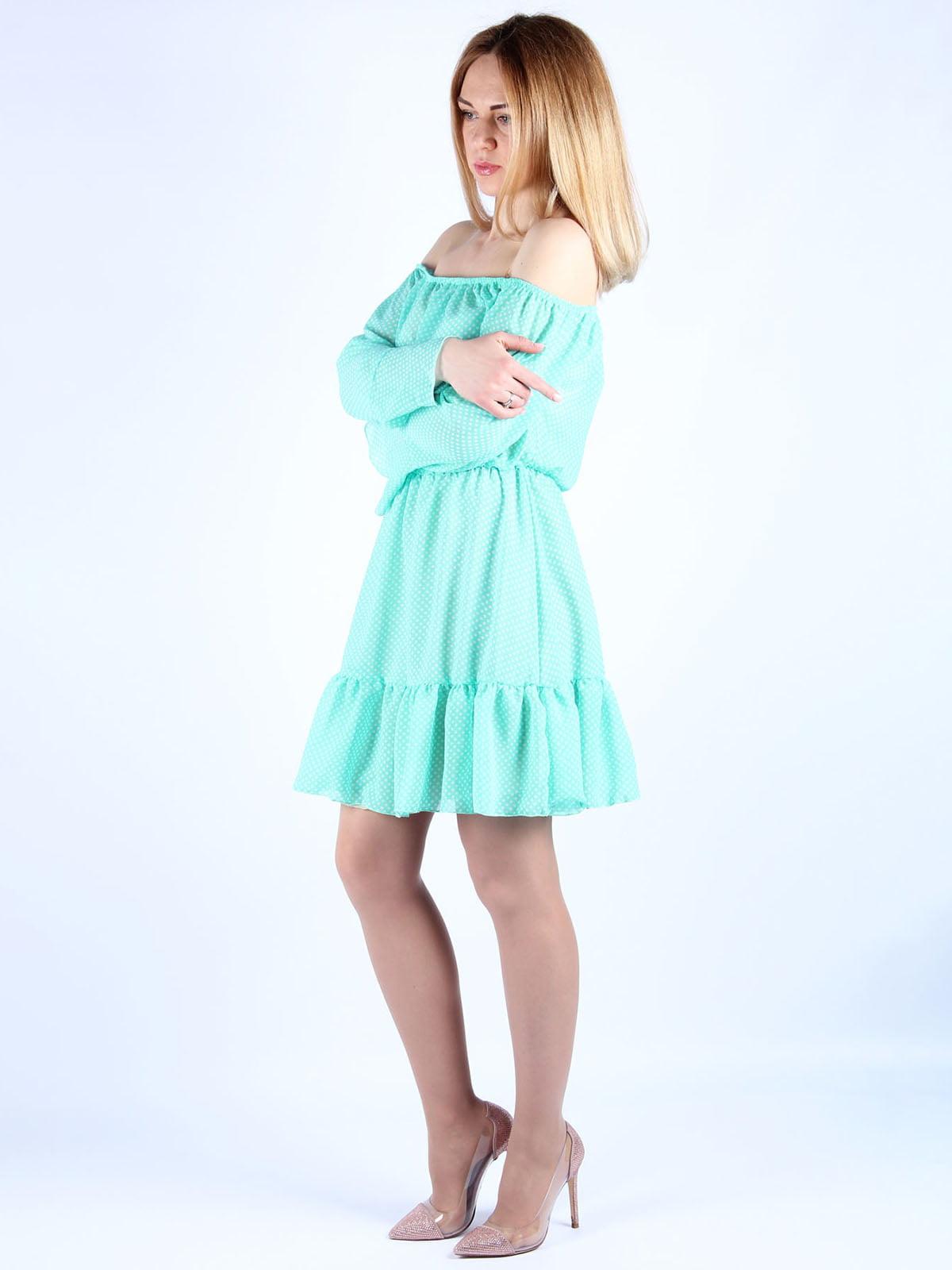 Платье мятного цвета в горошек | 4984057 | фото 3
