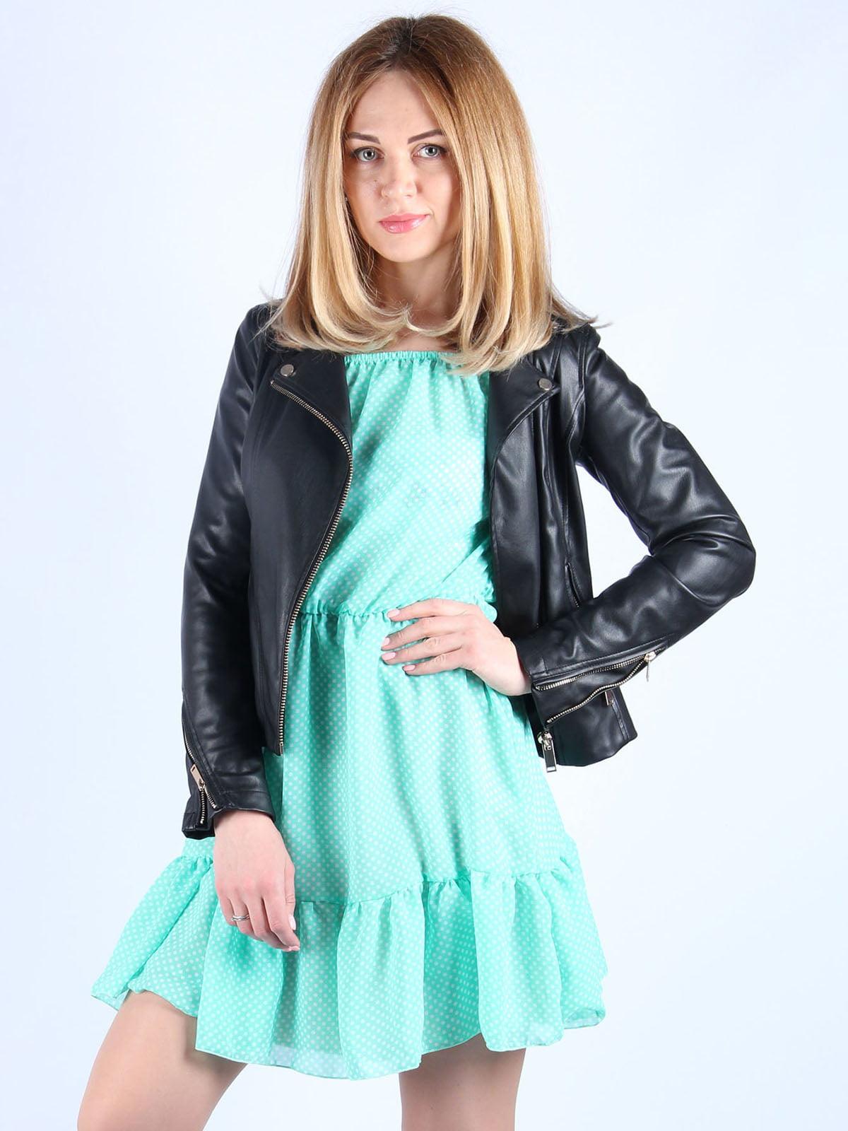 Платье мятного цвета в горошек | 4984057 | фото 4
