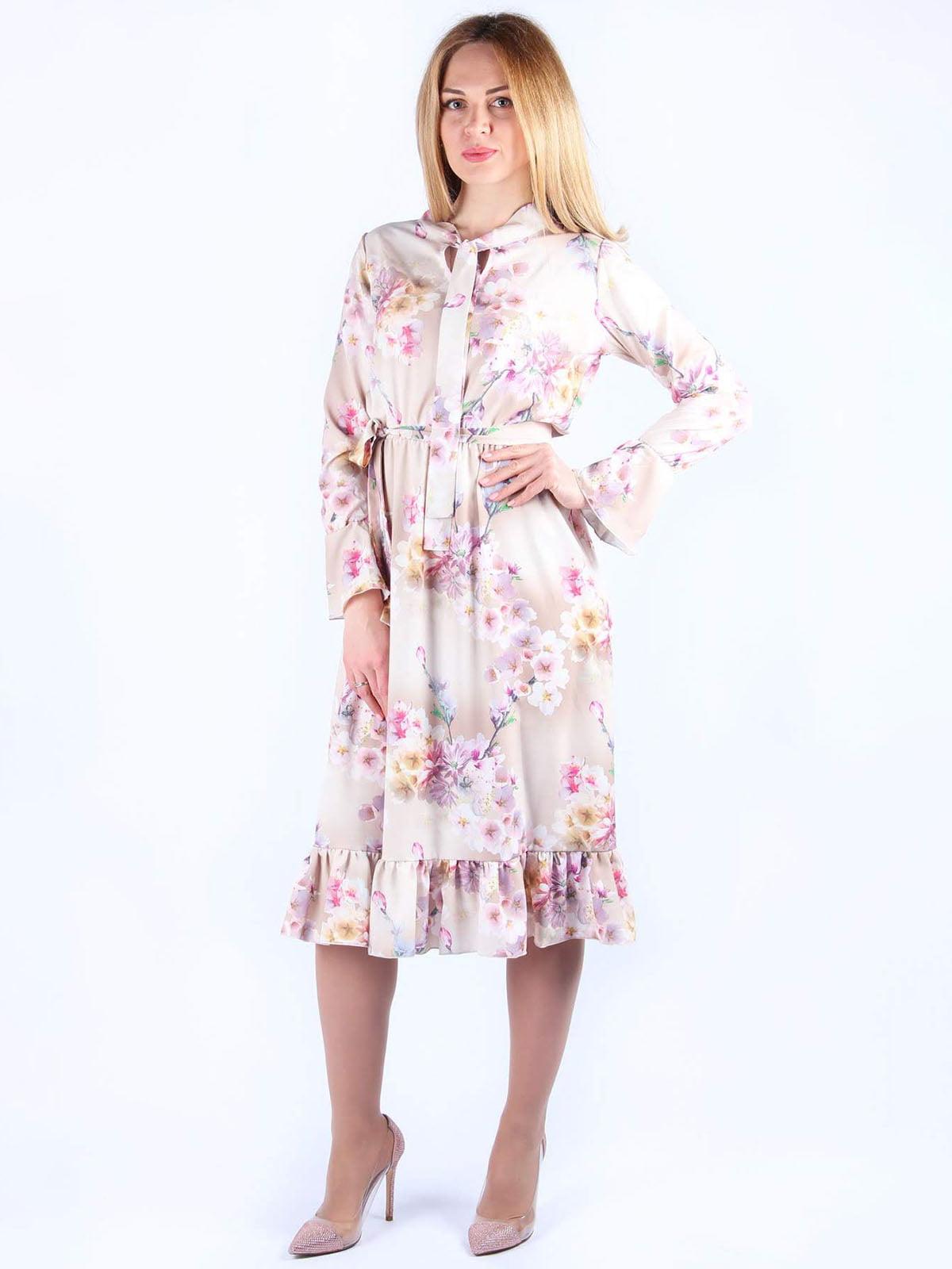 Платье розовое в цветочный принт | 4984070
