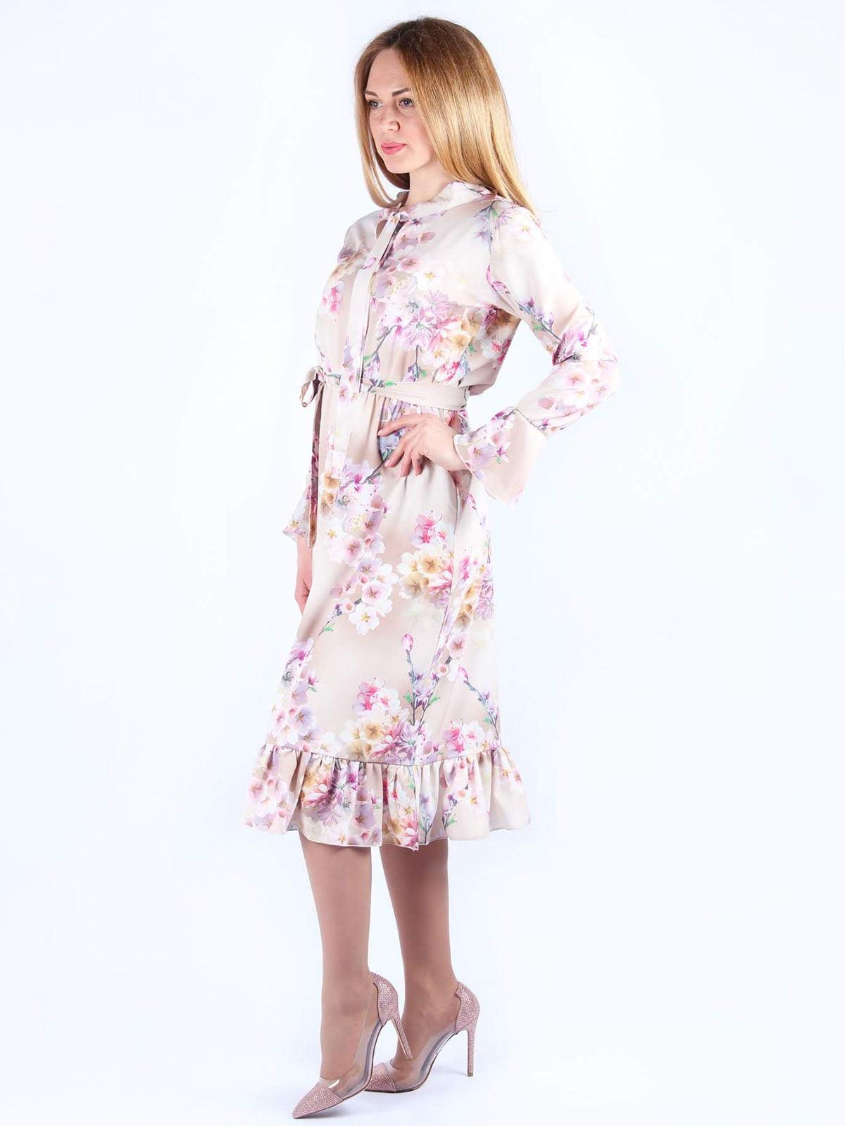 Платье розовое в цветочный принт | 4984070 | фото 3