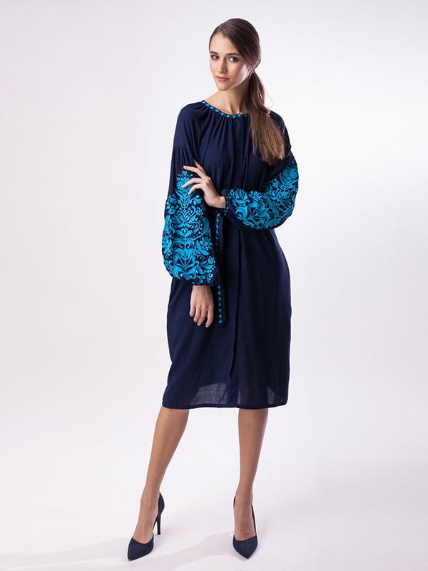 Сукня синя з вишивкою | 3714583
