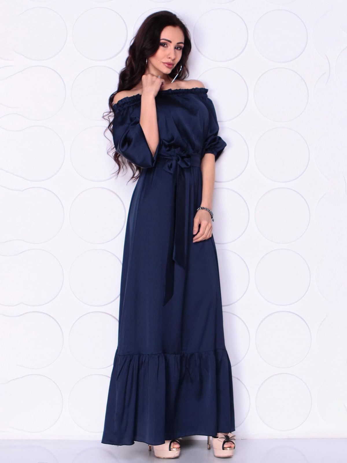 Сукня темно- синя з поясом | 5010392