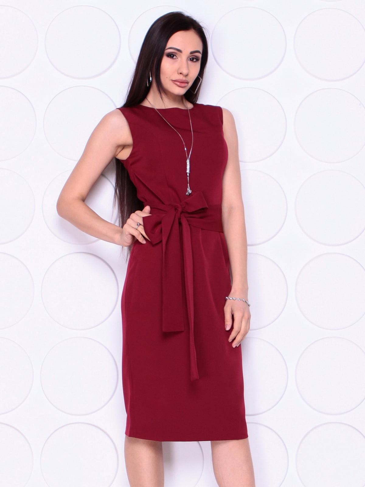 Сукня сливового кольору з поясом | 5010435