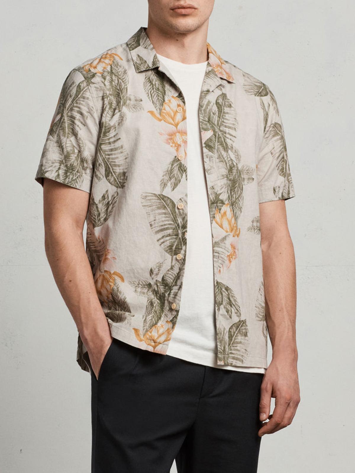 Рубашка цвета экрю с цветочным принтом | 5010808