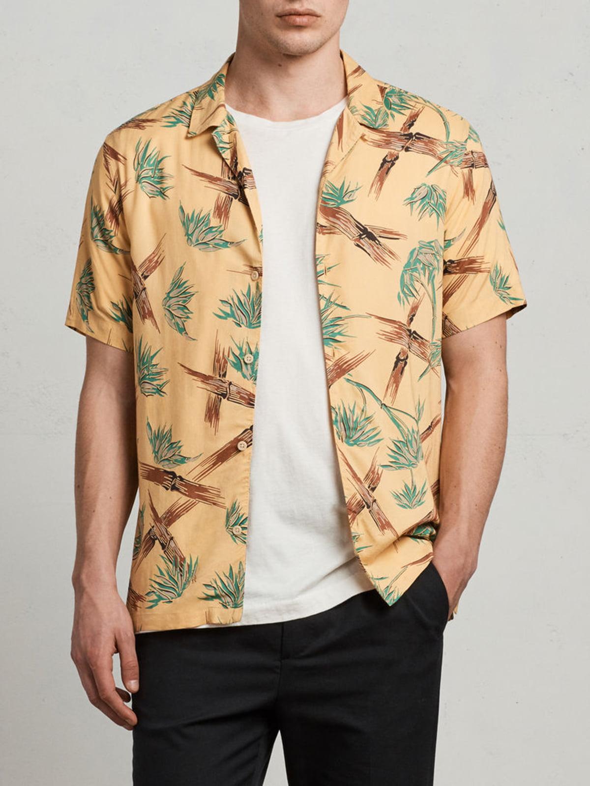 Рубашка желтая с принтом   5010809