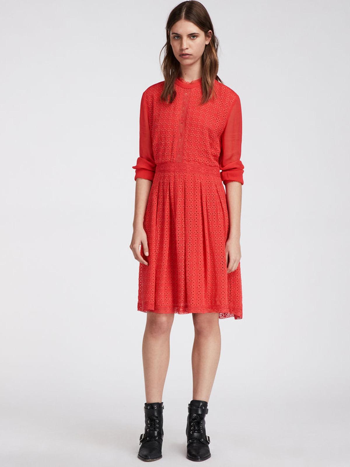 Платье коралловое с принтом | 5010853