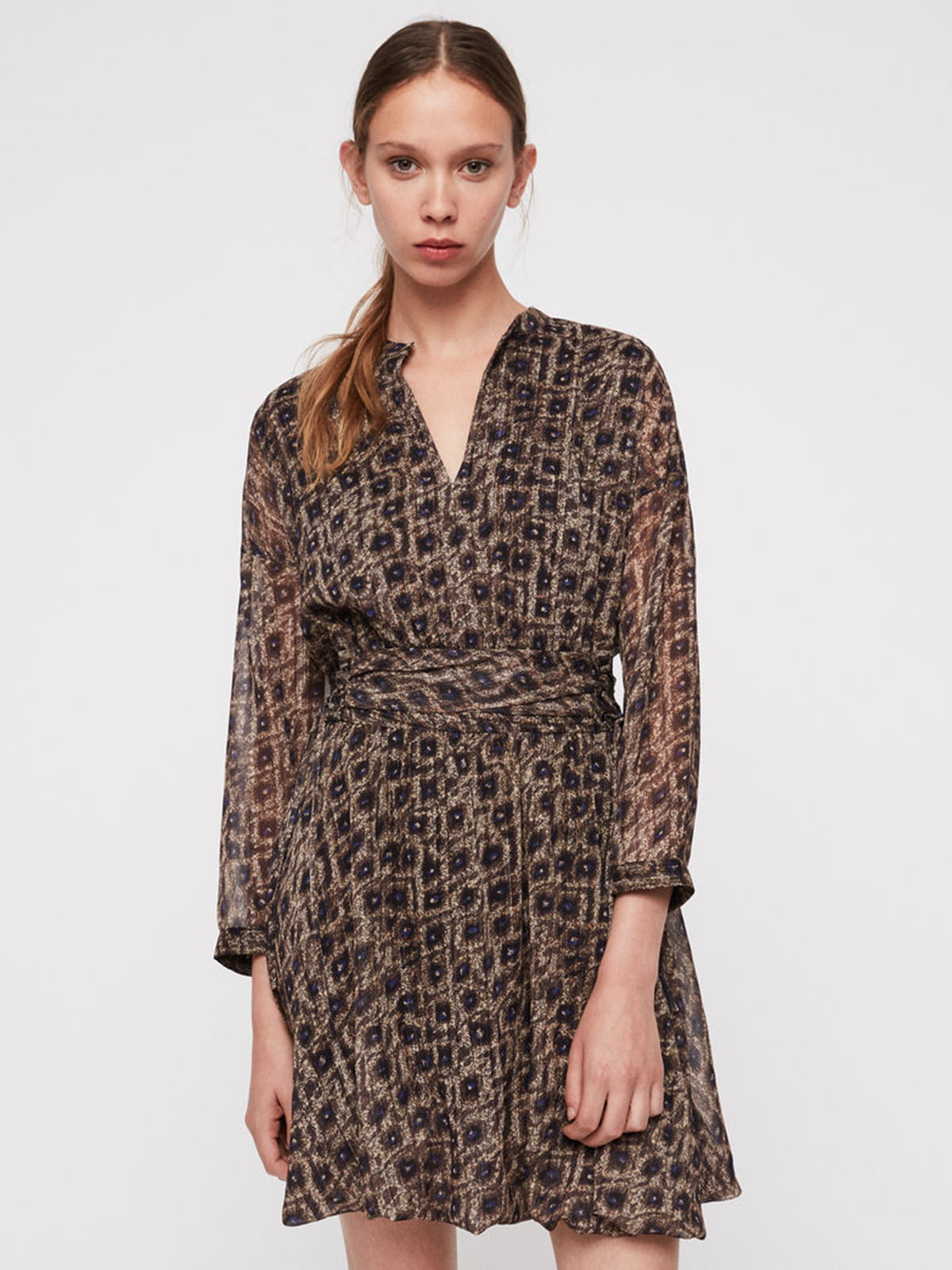 Платье коричневое с принтом   5010863