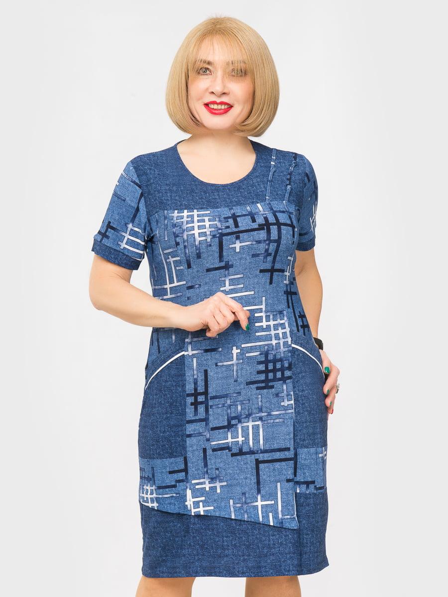 Платье синее с принтом | 5027221