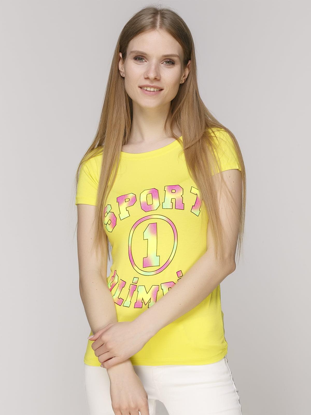 Футболка желтая в принт   5015179