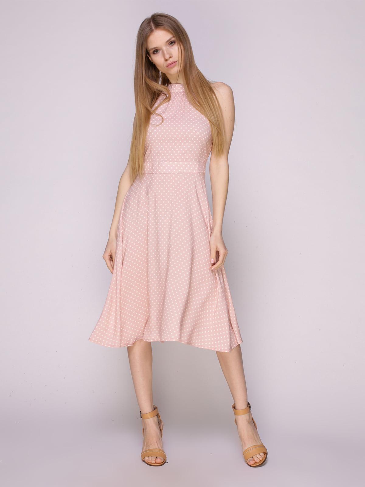 Платье пудрового цвета в горох | 5029852