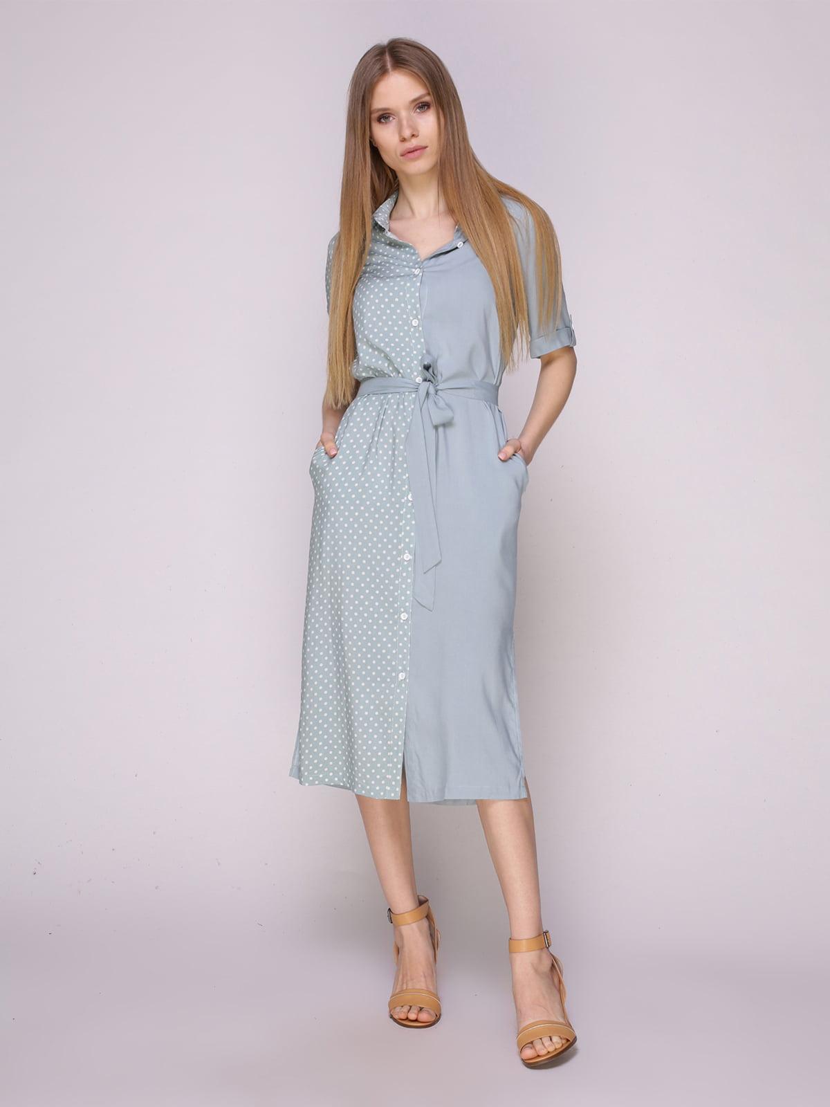 Платье-рубашка зеленое комбинированное | 5029858