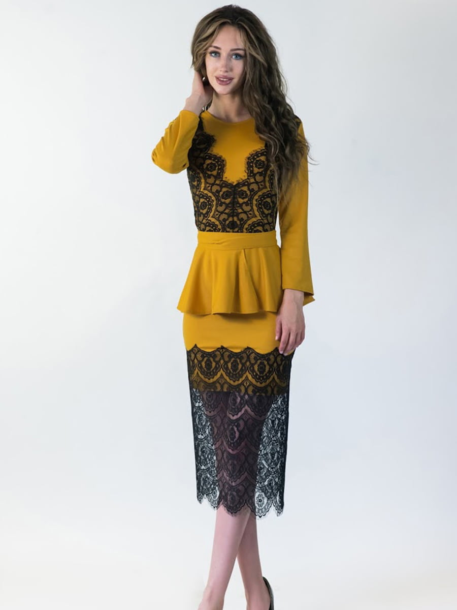 Платье горчичного цвета   5035293