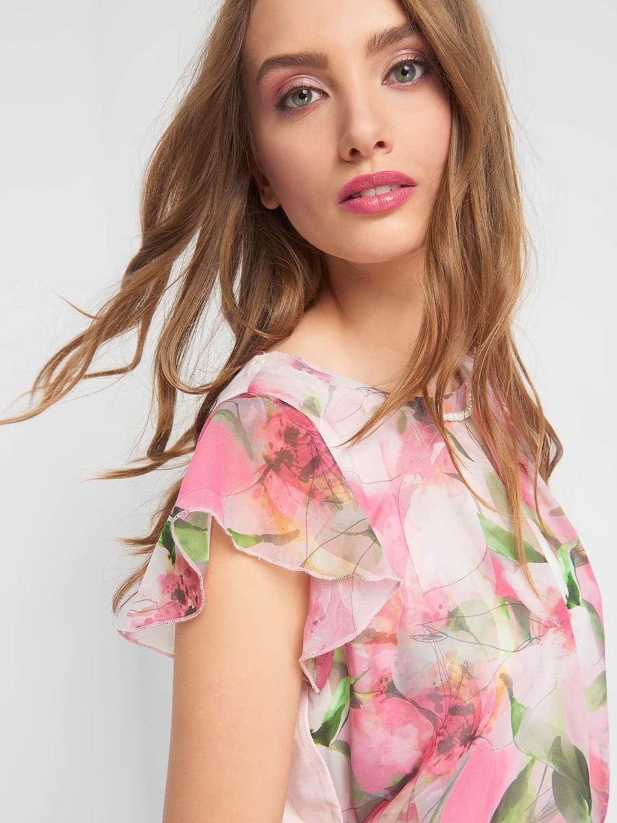 Блуза розовая с цветочным принтом | 5039291