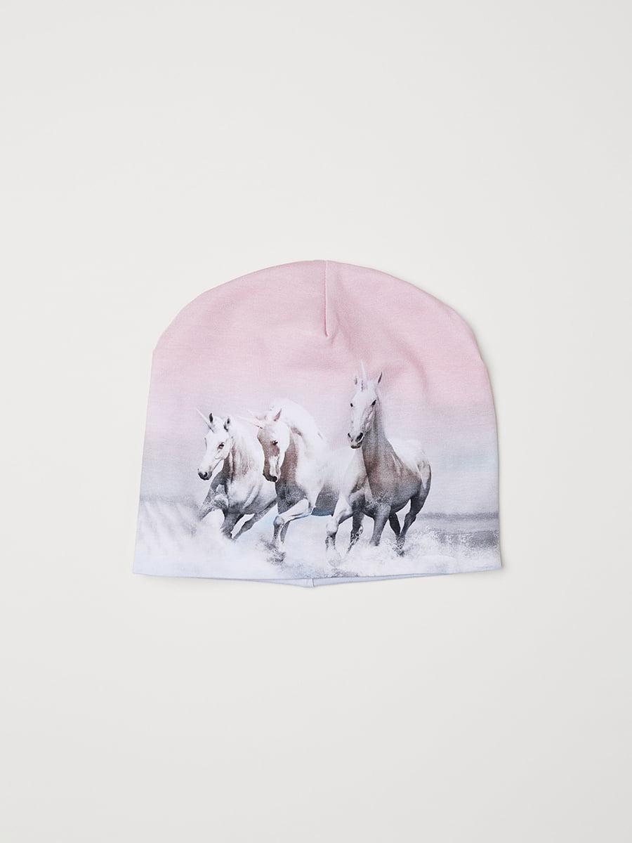 Шапка розовая в принт | 5045996