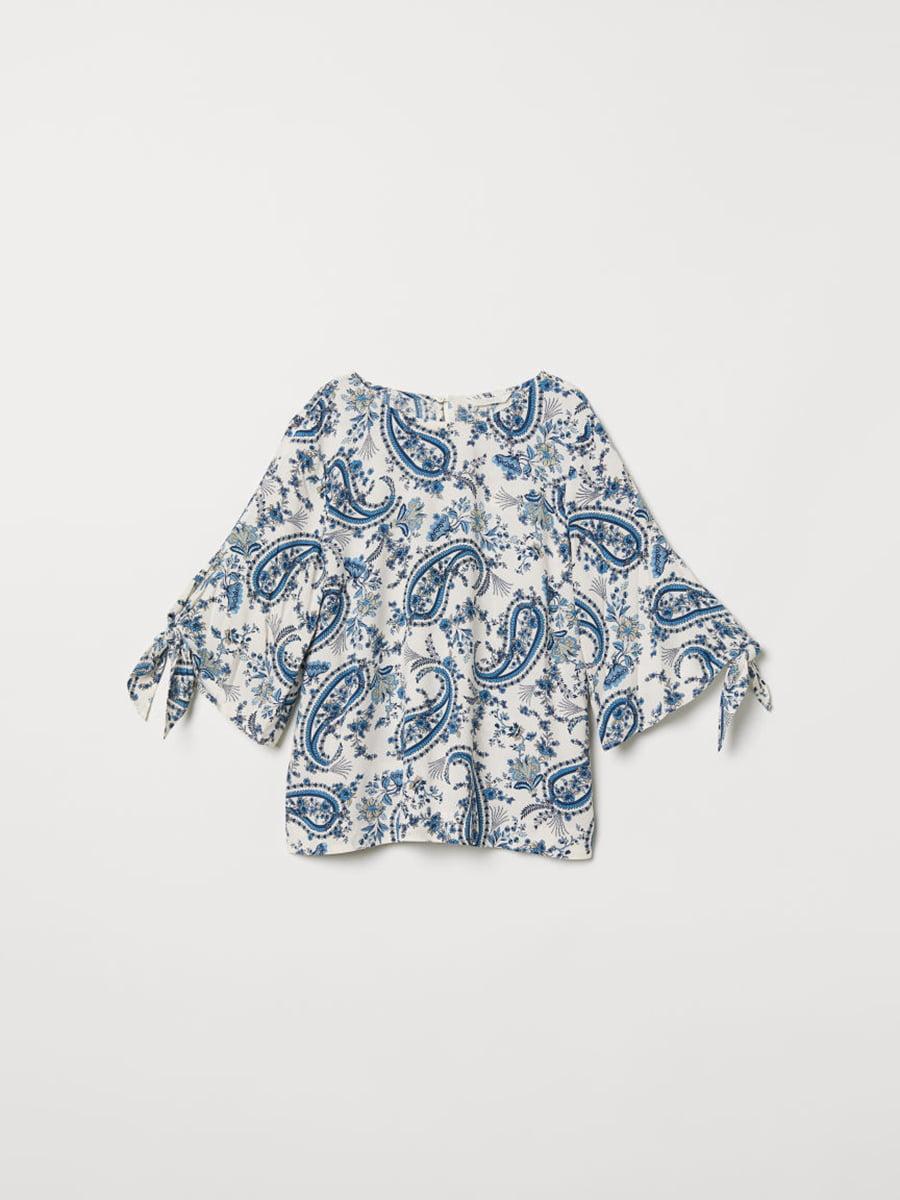 Блуза белая в принт | 5046133