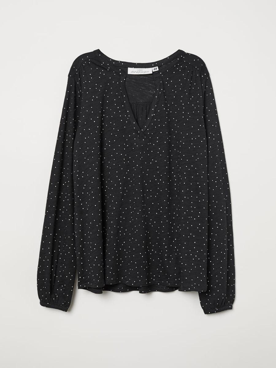 Блуза черная в горошек | 5046289