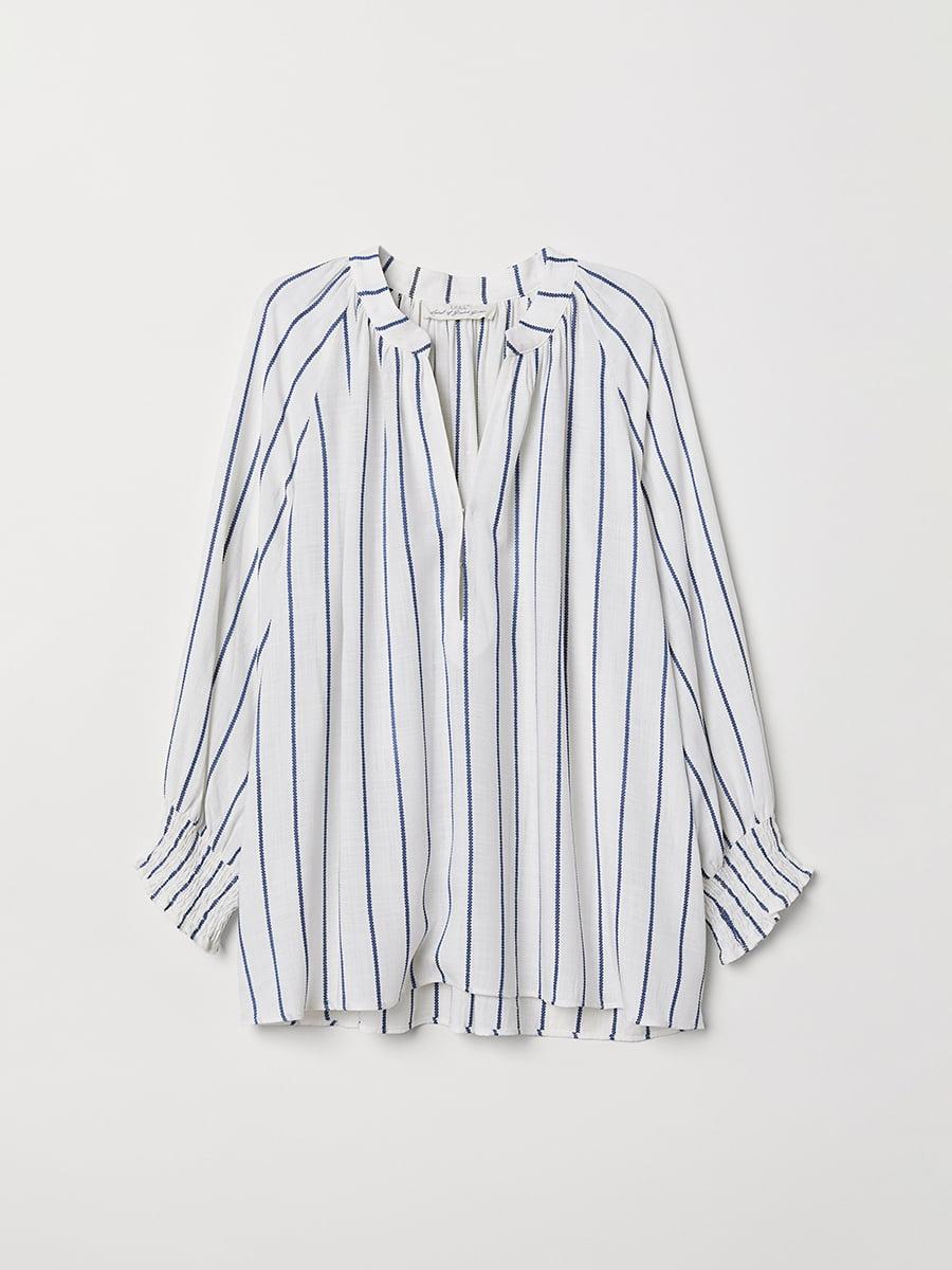 Блуза белая в полоску | 5046406