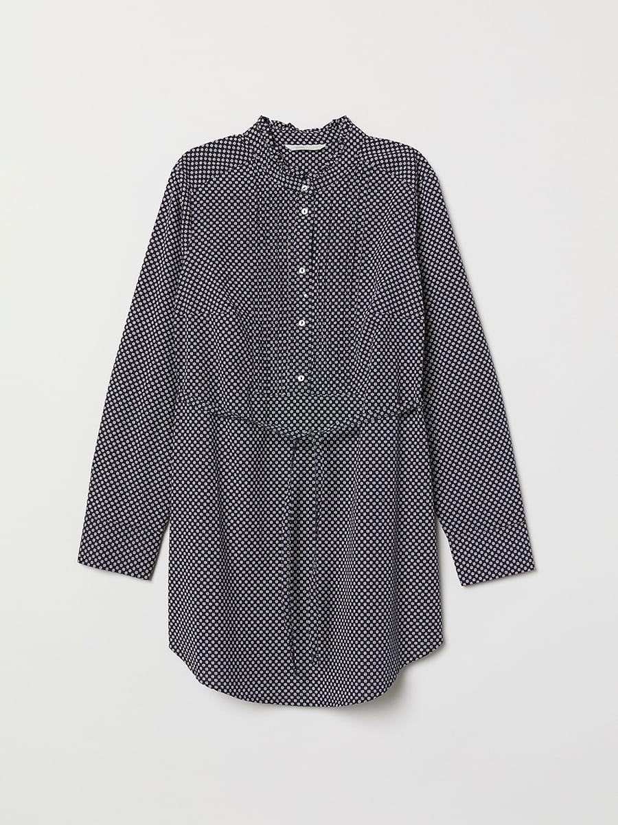 Блуза темно-синяя в принт | 5046888