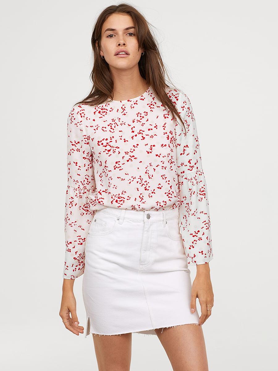 Блуза белая в принт   5046942