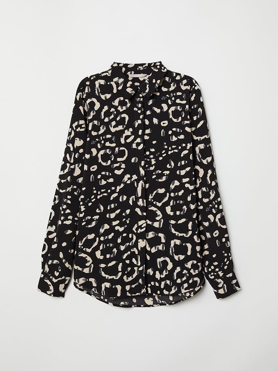 Блуза черная в принт | 5046967