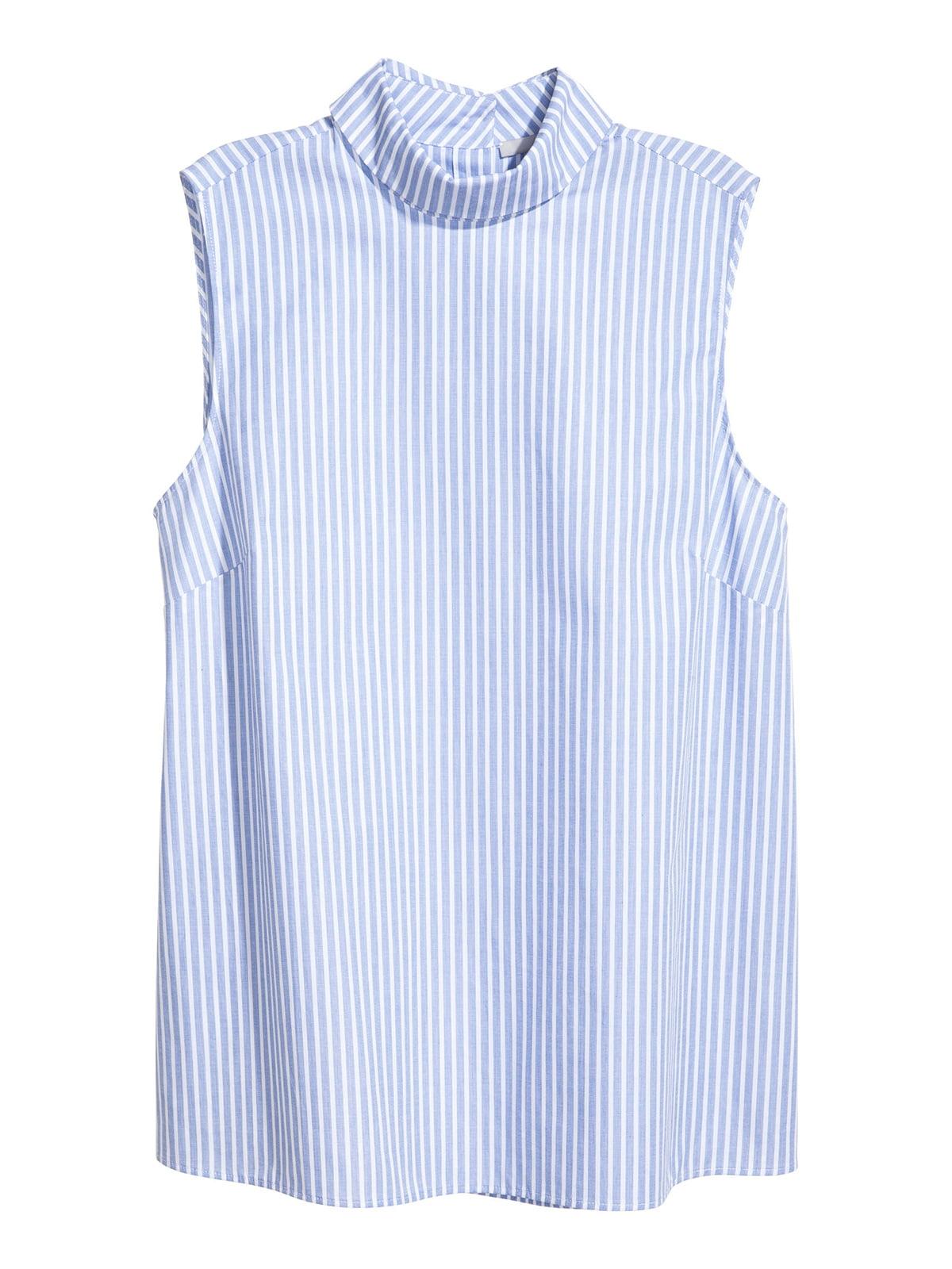 Блуза голубая в полоску   5045374