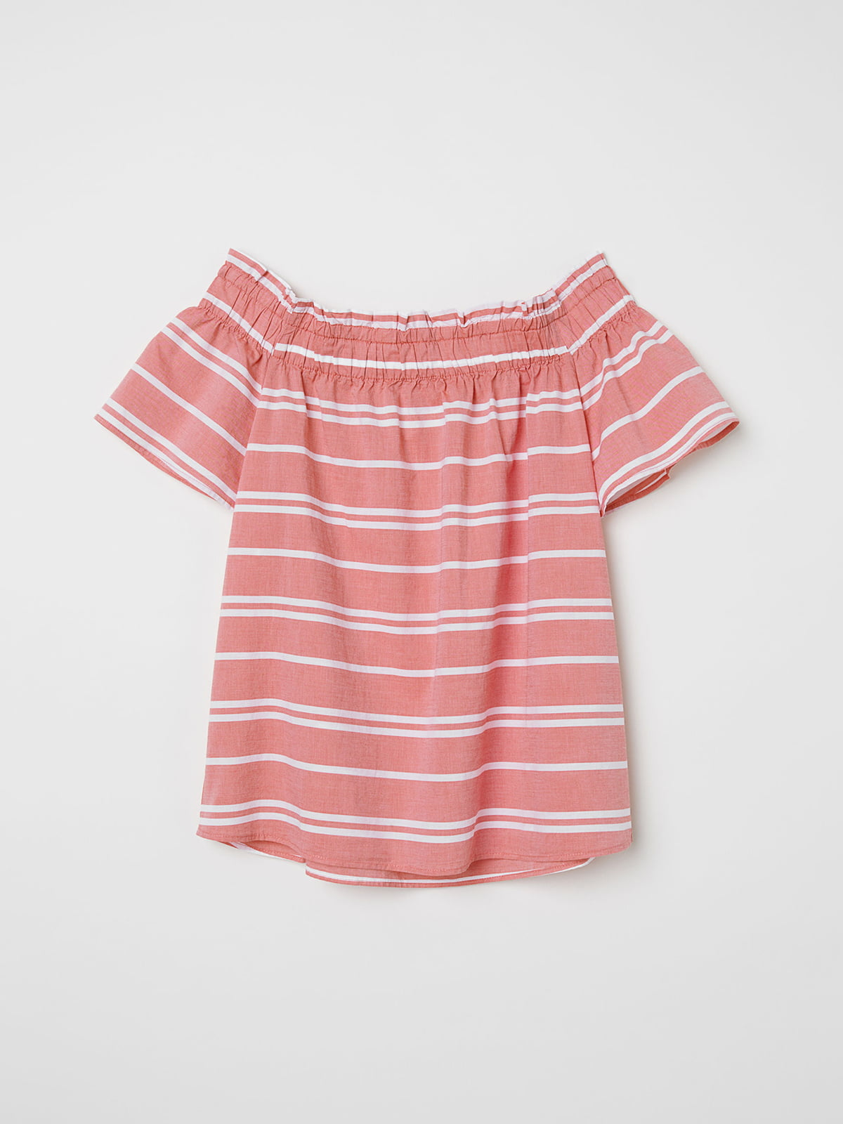 Блуза кораллового цвета в полоску | 5045917