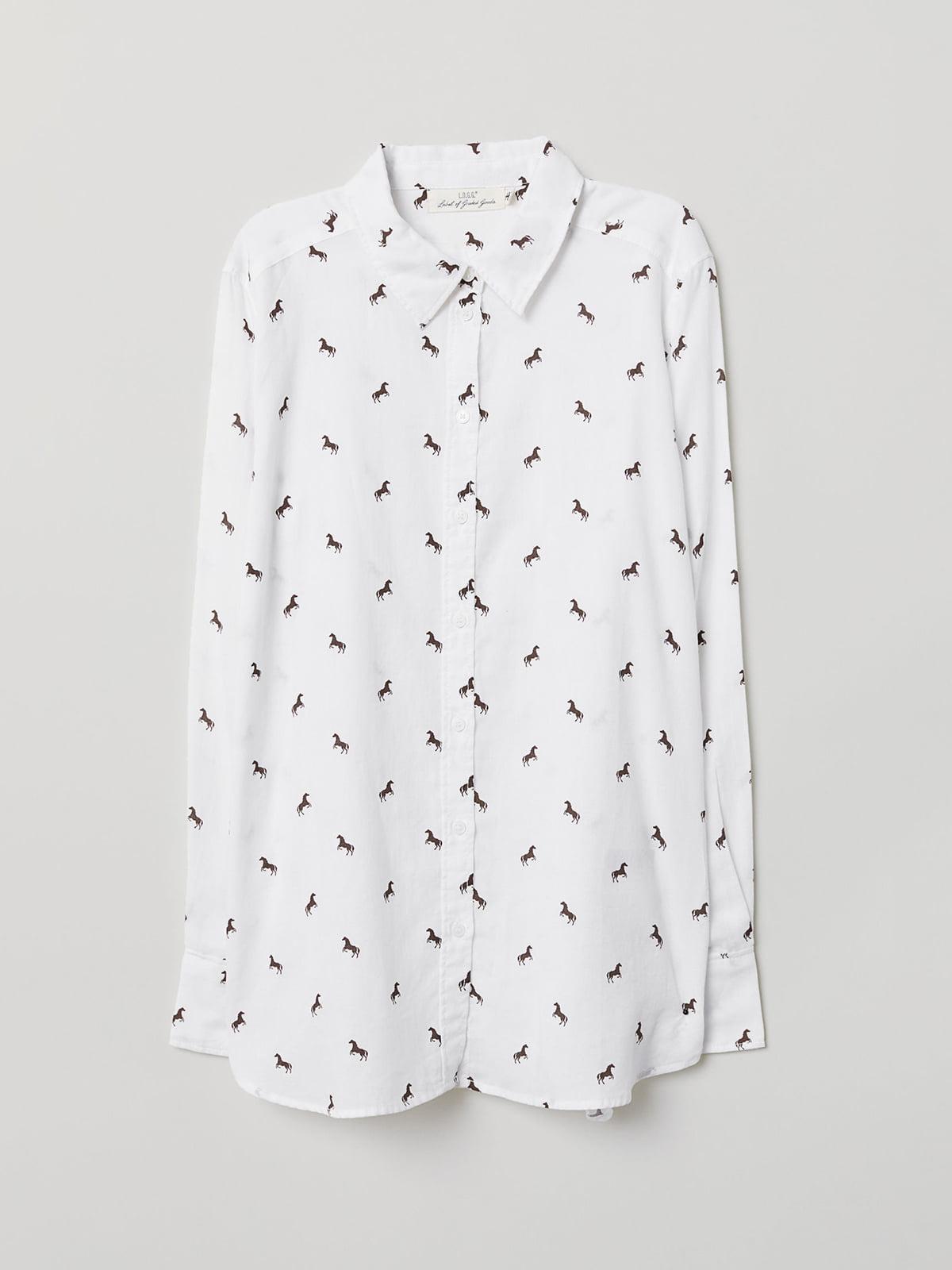 Сорочка біла в принт | 5045921