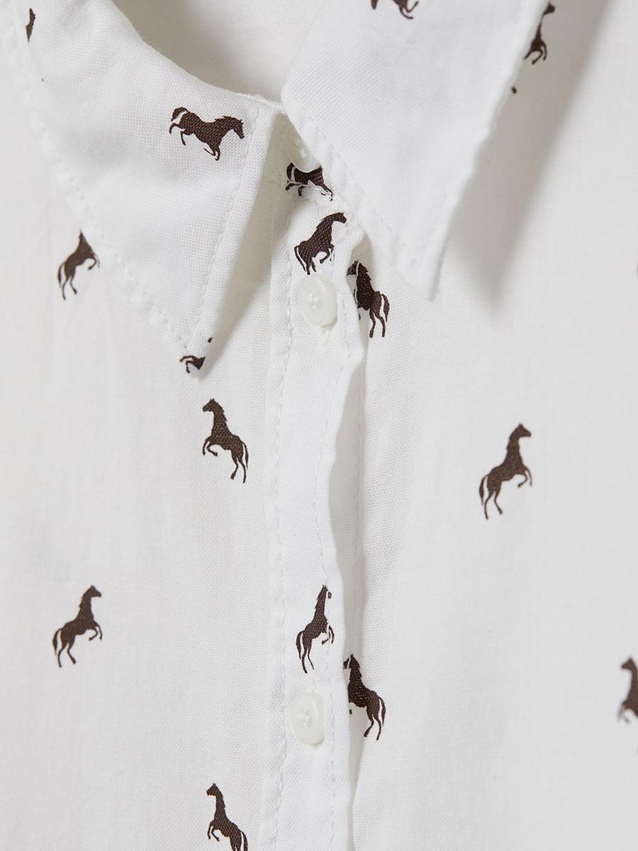 Сорочка біла в принт | 5045921 | фото 2