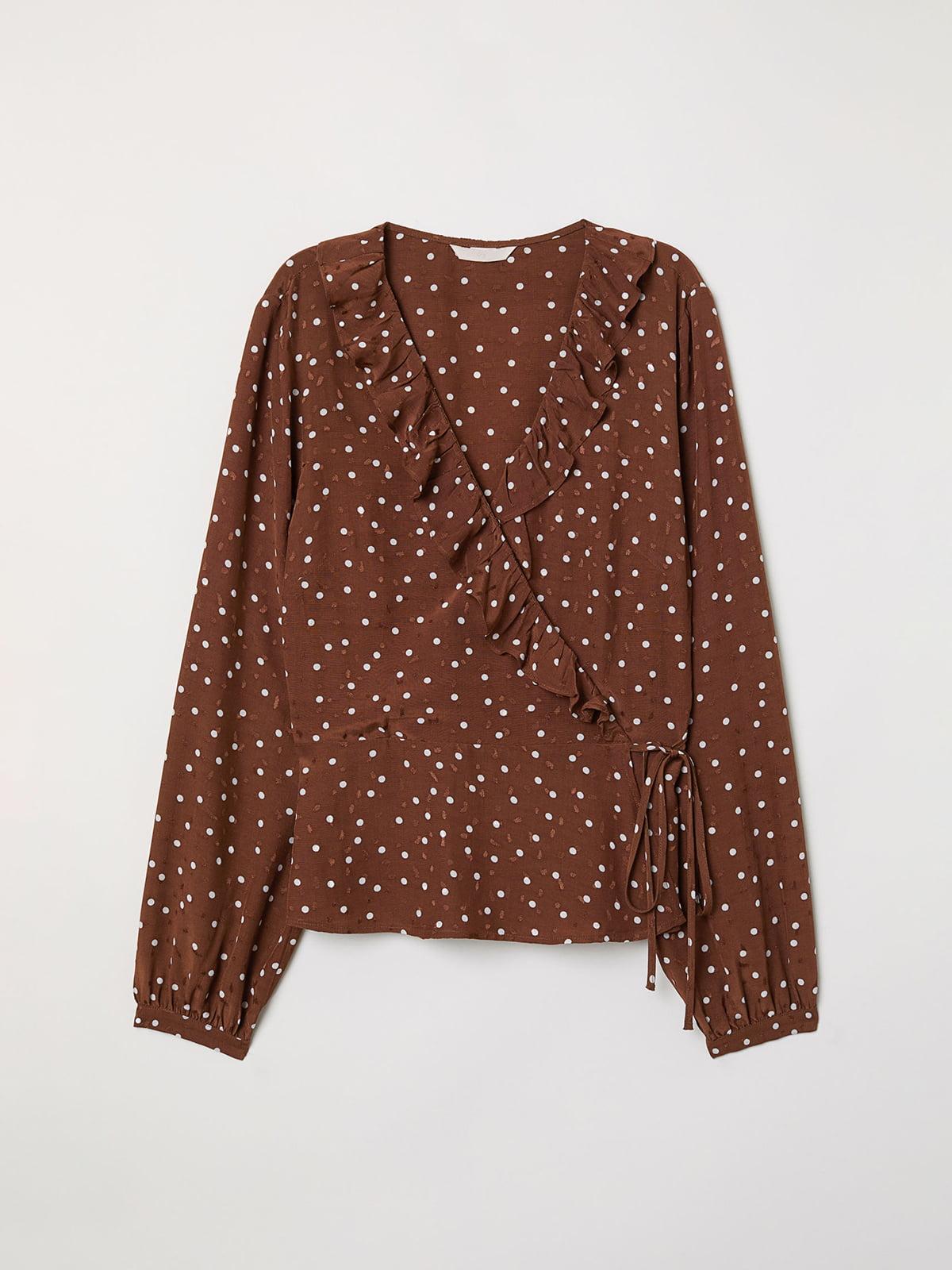 Блуза коричневая в горошек | 5046919