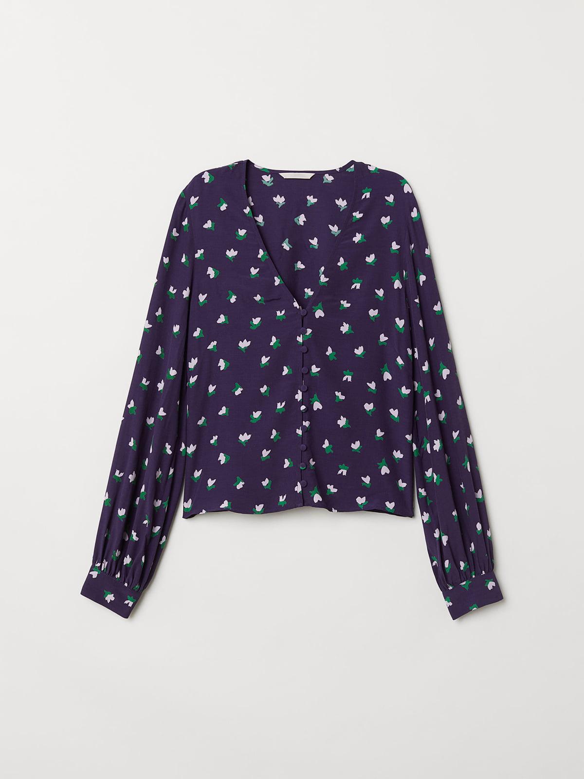 Блуза фиолетовая в цветочный принт   5047075