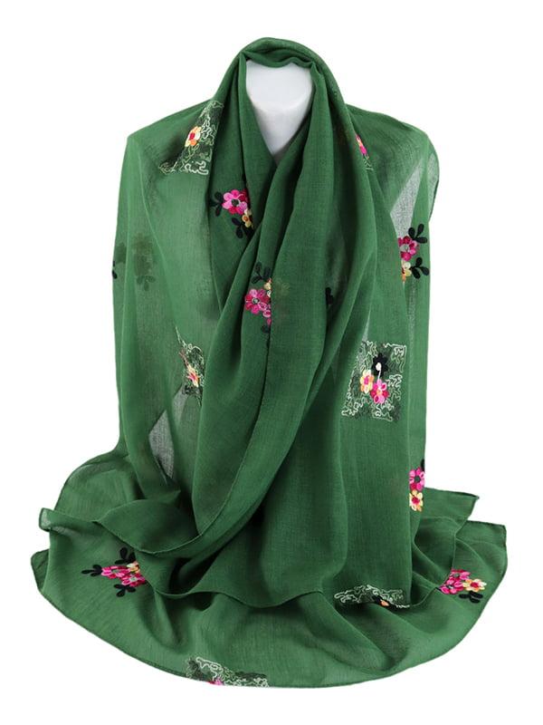 Шаль зелена з вишивкою | 5054501