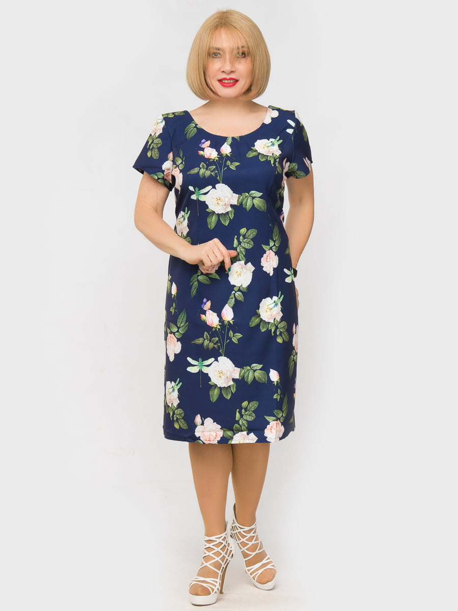 Платье синее в цветочный принт | 5057253