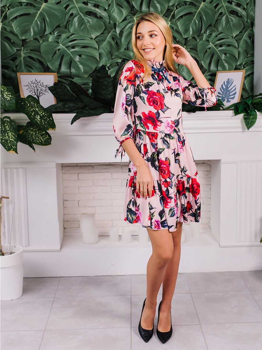 Платье розовое в цветочный принт   5058037