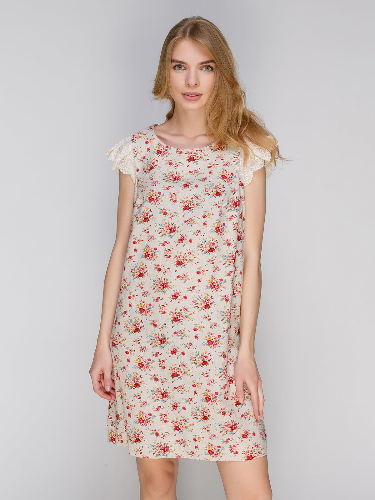 Платье бежевое с принтом | 2650585