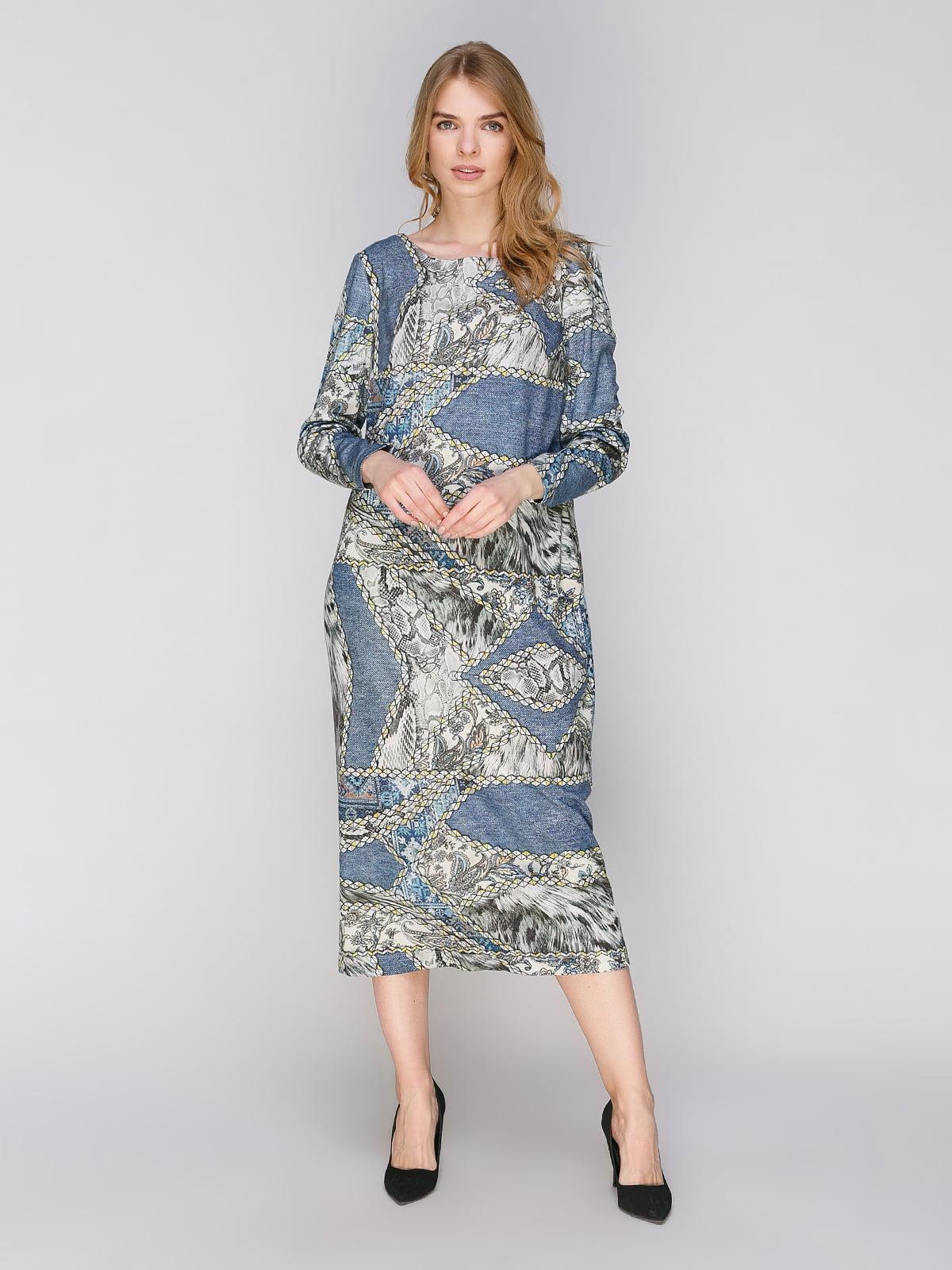 Сукня блакитна у принт | 2880773