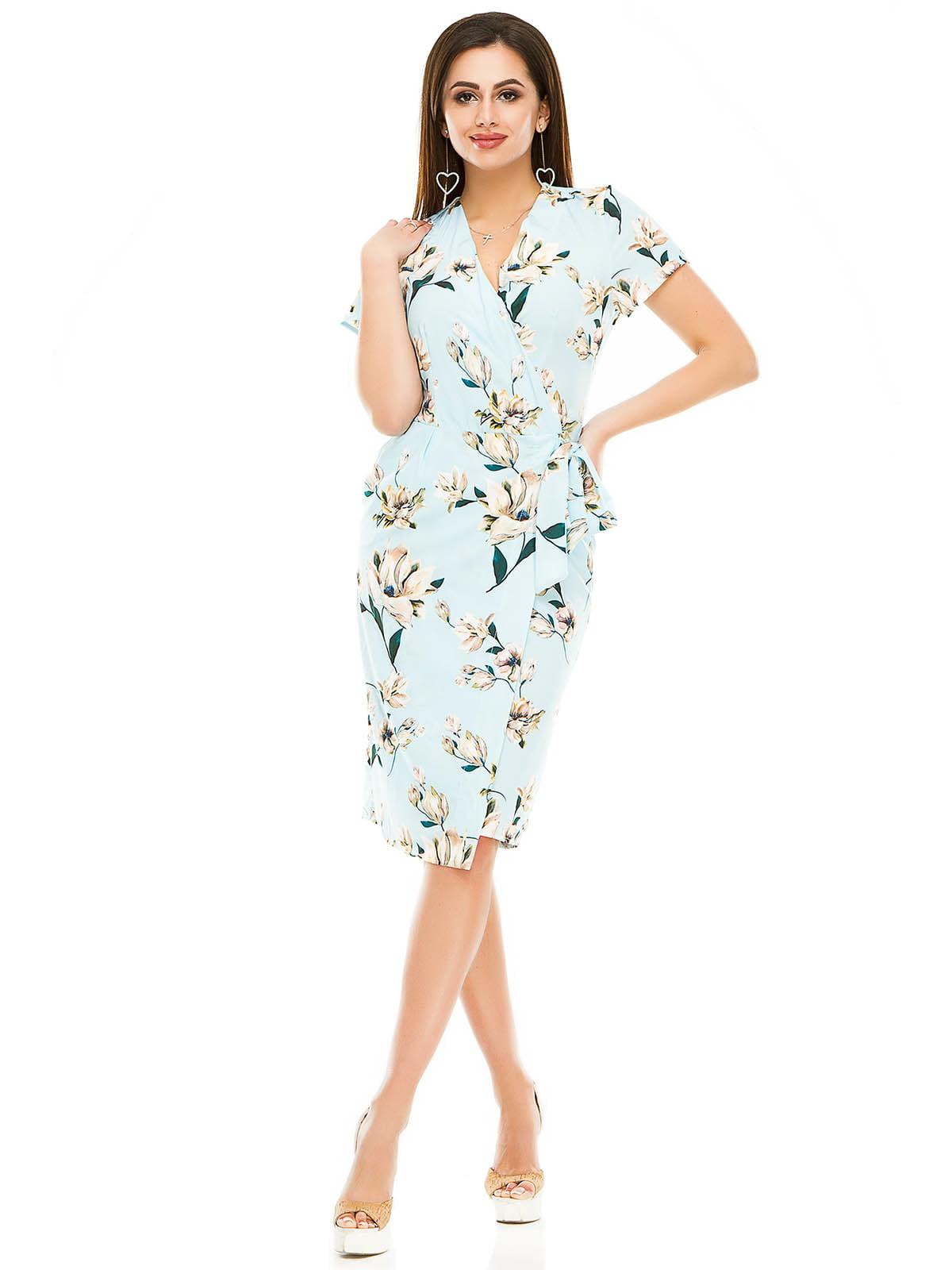 Сукня блакитна в квітковий принт | 5062989