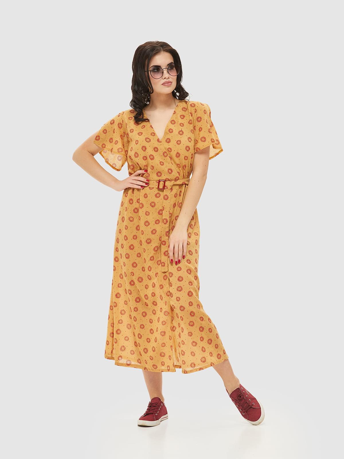 Сукня жовта в принт | 5075492