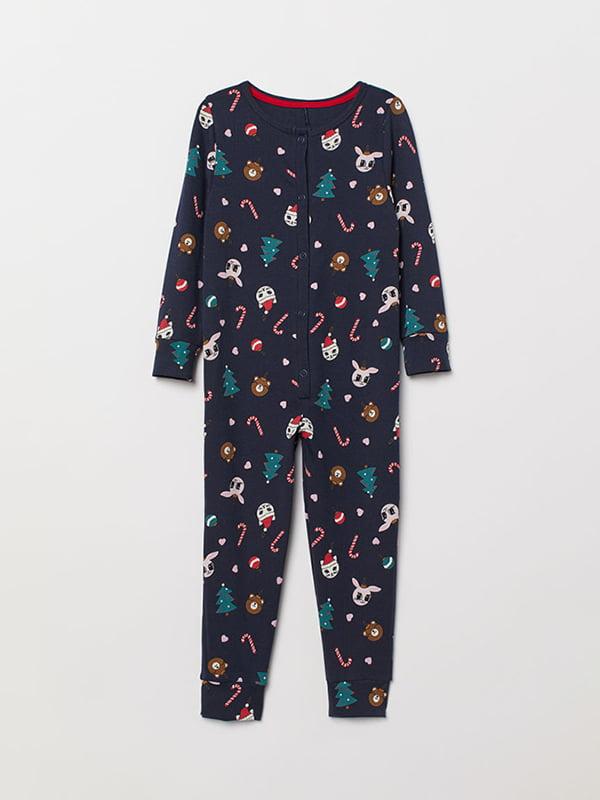 Пижама-комбинезон синий в принт | 5073237