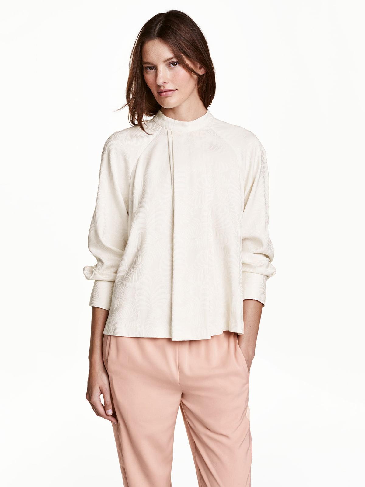 Блуза бежевая с принтом | 5072848