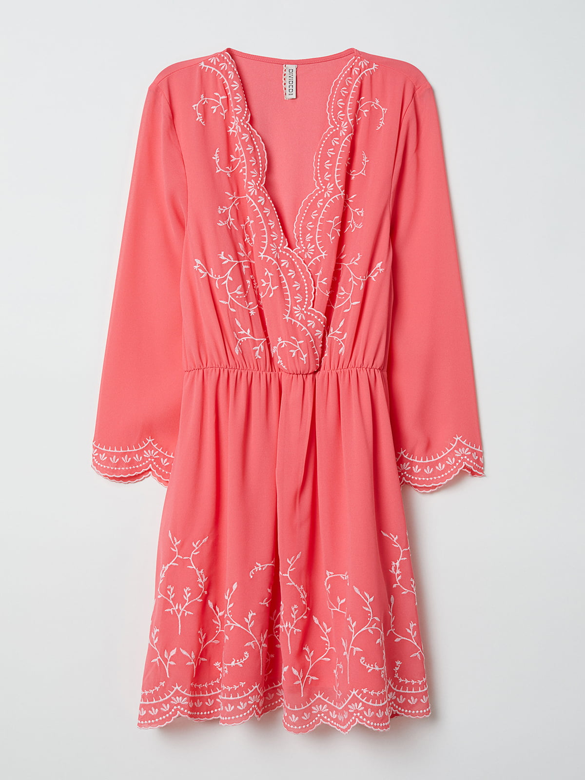 Платье коралловое с вышивкой | 5073031